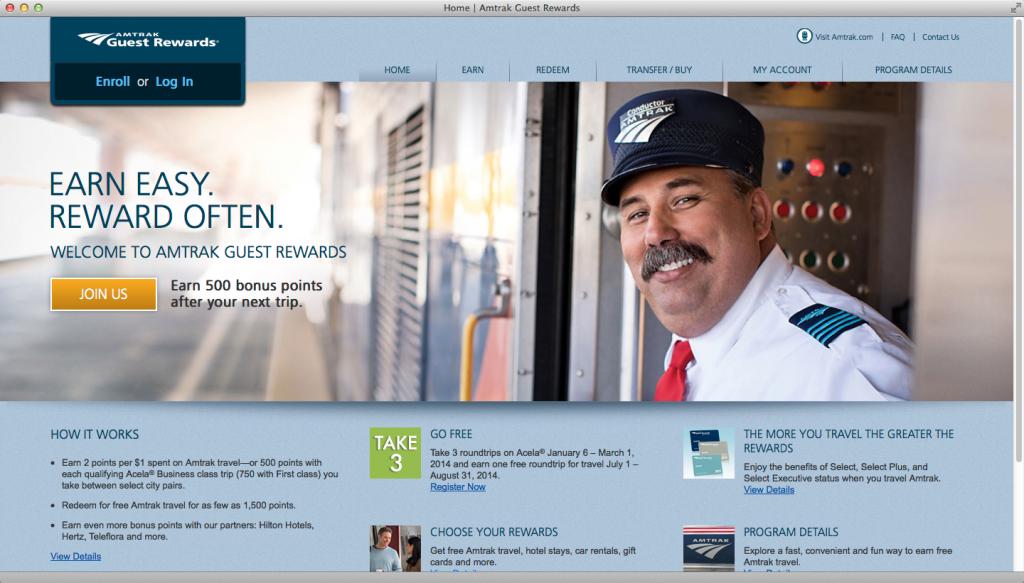 Amtrak Guest Rewards - Desktop