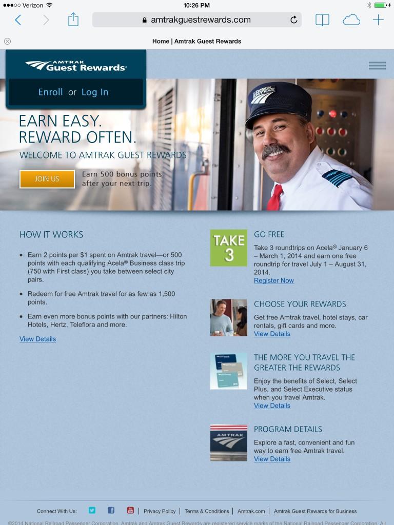 Amtrak Guest Rewards - Tablet