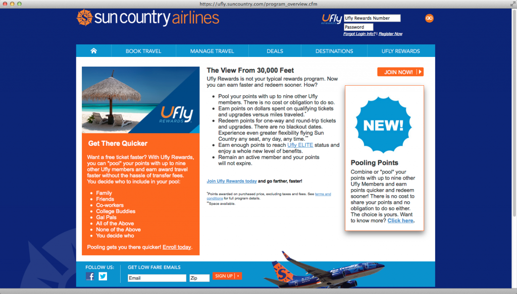 uFly - Sun Country Airline's loyalty program