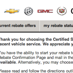 GM Certified Service Rebates